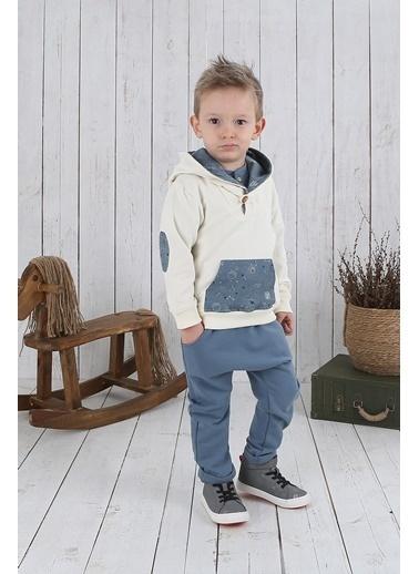 Nila Kids Gri Mavi Rengi Erkek Bebek Organik Pantalon NK4003GM (3 AY- 5 YAş) Mavi